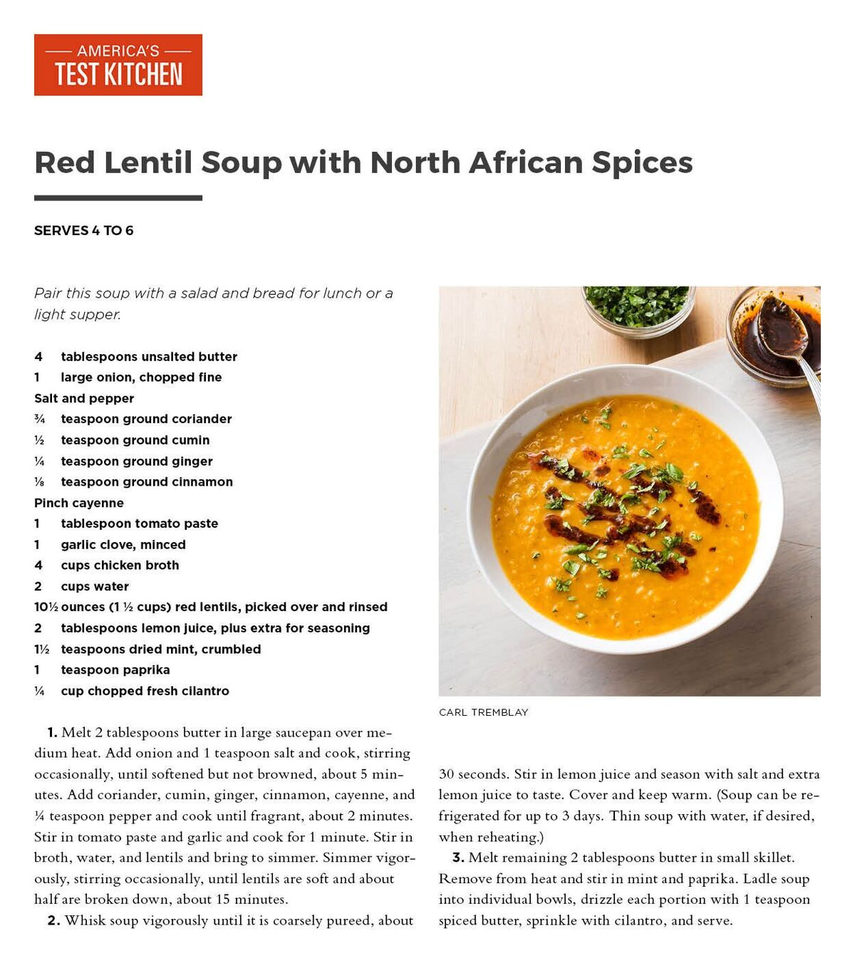 America S Test Kitchen Red Lentil Soup