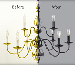Chandelier before & after paint job