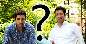 Jonathan and Drew Scott with a question mark